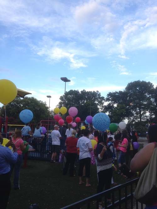 Everyone gets ready to release their balloons!